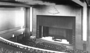 Eaton Auditorium, c 1945. Looking onto the stage from the balcony.