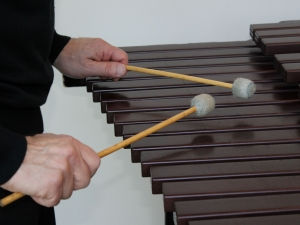 Hand and mallet position when playing the xylophone.
